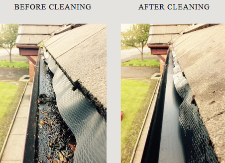 gutter cleaning before and after pictures